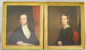 Attributed to Ezra Ames American 17681836 Pair of Portraits of Mr and Mrs Stoughton of Amherst Massachusetts