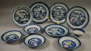 Ten Pieces of Chinese Export Canton Porcelain Tableware