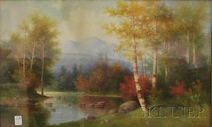 George McConnell Oil on Canvas Scene of Autumn on the Ammonoosuc River