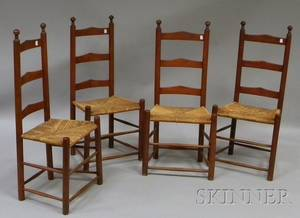 Set of Four Redstained Wooden Slatback Side Chairs with Woven Rush Seats