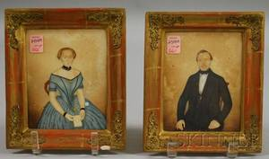 AmericanContinental School 19th Century Pair of Small Portraits of a Man and Wife
