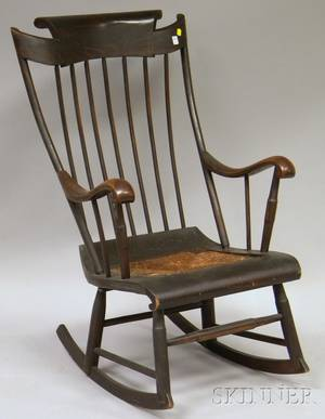 Empire Grained and Paintdecorated Armrocker with Woven Rush Inset Seat