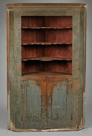 Large Country Green and Redpainted Wooden Corner Cupboard