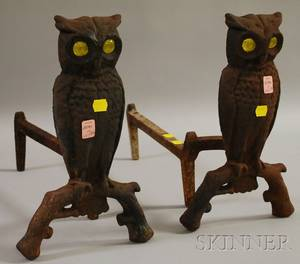 Pair of Cast Iron Owl Figural Andirons with Yellow Glass Eyes