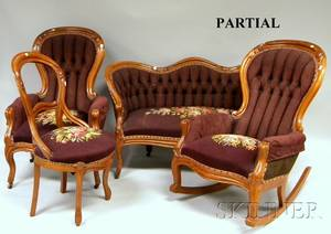 Sixpiece Victorian Rococo Revival Needlepoint Upholstered Carved Walnut Parlor Set