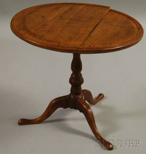 Miniature Chippendalestyle Walnut Tilttop Birdcage Tea Table