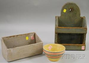 Two Small Painted Wooden Wall Boxes and a Small Banded Yellowware Mixing Bowl