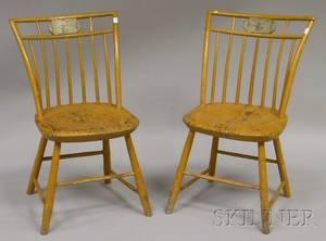 Two Yellowpainted Windsor Birdcage Side Chairs with Polychrome Painted L Crest Panels