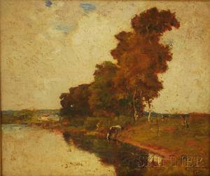 Lot of Two Works American School 20th Century View of Cow Drinking at the Stream