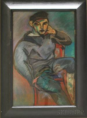 Framed Pastel on Paper of a Seated Man After Pablo Picasso Spanish 18811973
