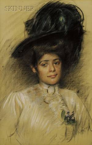 Manner of Paul Cesar Helleu French 18591927 Portrait of a Woman