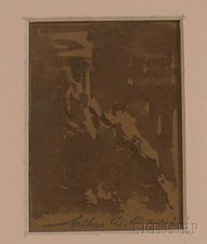 Framed Ink Wash on Paper Landscape Sketch Attributed to Arthur Bowen Davies American 18621928