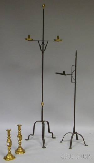 Wrought Iron Adjustable Floor Candlestand a Wrought Iron and Brass Adjustable Double Candlestand and a Pair of Brass Candlesticks
