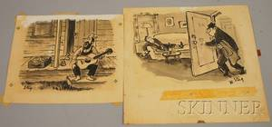 William Steig American 19072003 Lot of Two Pen and Ink Cartoons Husband Tiptoeing In
