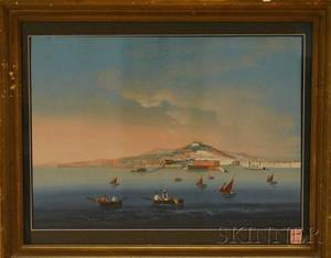 Italian School 19th20th Century Bay of Naples and Mt Vesuvius