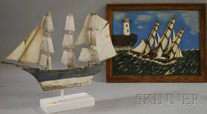 Framed Folk Carved and Painted Wood Ship and Lighthouse Scenic Panel and a Painted Wood and Tin ThreeMasted Sailing Ship Weather Va