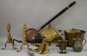 Group of Assorted Decorative Domestic and Hearth Metalware