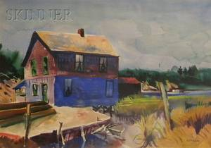 Reginald Leslie Grooms American 19001989 Lot of Three Works View of a House by a Tidal Marsh View of Fishing Shacks by a Cove