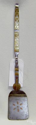 Rare Pennsylvania whitesmithed wrought iron spatula late 18th c