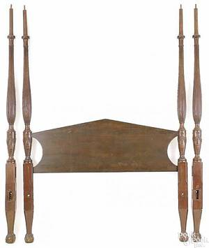 New England mahogany tall post bed ca 1790