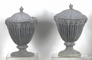 Pair of cast lead garden urns early 19th c