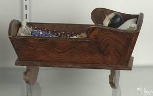 Pennsylvania decorated pine doll cradle ca 1840