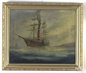 American oil on canvas ship portrait late 19th c