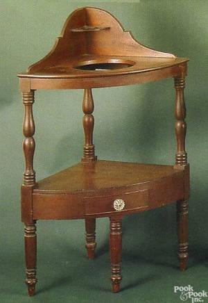 Pennsylvania Federal cherry corner washstand ca 1820