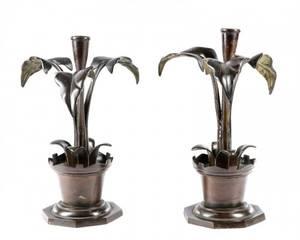 Pair of Bronze Candle Holders Thomas Abbott