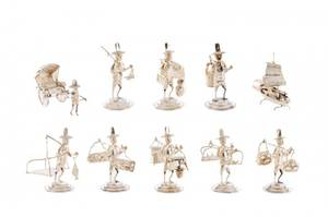 Ten Sterling Chinese Figural Place Card Holders