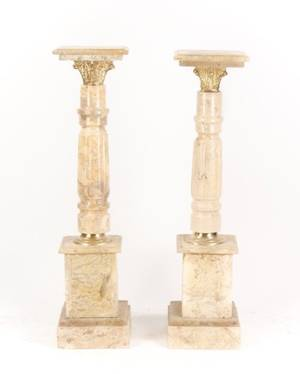 Pair of Gilt Bronze Mounted Marble Pedestals