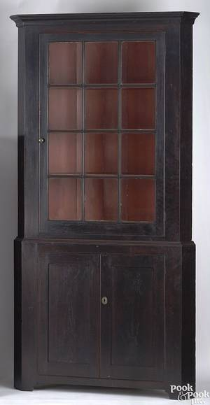 Pennsylvania Federal cherry 2piece corner cupboard ca 1810