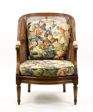 French Louis XVI Style Caned Bergere
