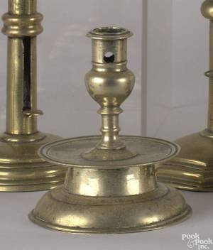 Northern Europe or English brass candlestick mid 17th c