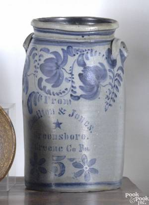 Five gallon stoneware crock mid 19th c