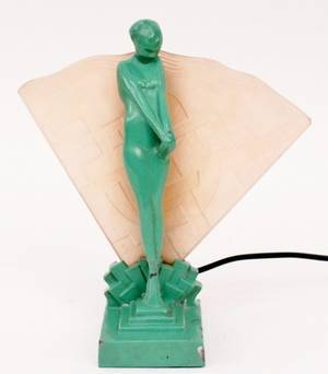 Frankart Figural Lamp with Fan Motif L225
