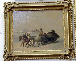 Russian oil on canvas winter landscape with 4 men on a troika signed indistinctly lower right HC Benzko1838 13 x 16 14
