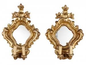 Pair of Italian Giltwood 2 Light Mirrored Sconces