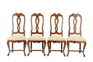 Set of 4 Italian Q Anne Style Walnut Chairs