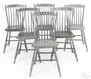 Set of 5 painted windsor bent rodback chairs ca 1820