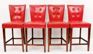 Set of Four Red Leather Bar Stools