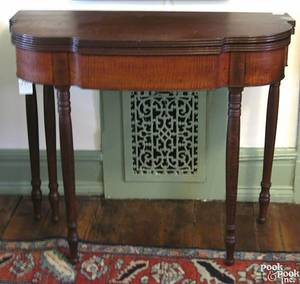 Pennsylvania Sheraton figured maple card table ca 1820