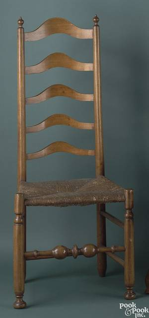 Pair of Pennsylvania tiger maple and maple ladderback side chairs ca 1775