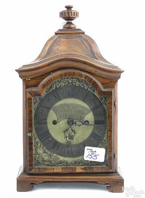 English Queen Anne rosewood veneer bracket clock 18th c