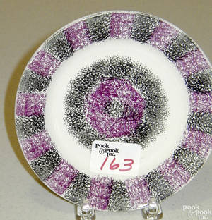 Black and purple rainbow spatter small plate 19th c