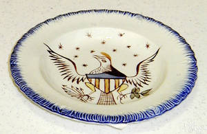 Blue feather scalloped edge Leeds cup plate 19th c