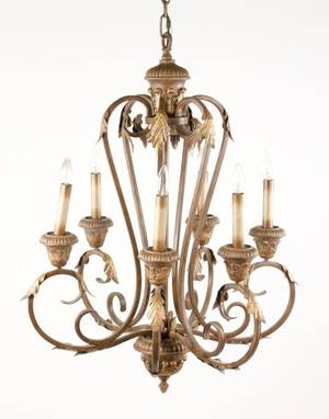 Louis XVI Style Gilt Iron 6 Light Chandelier