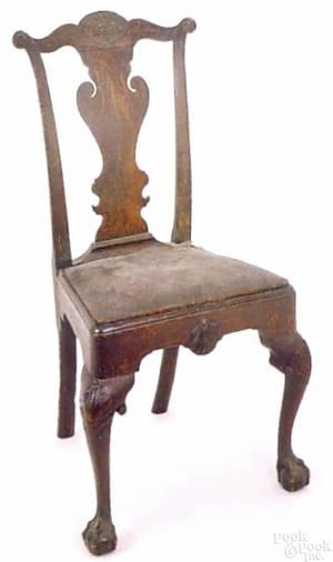 Rare Philadelphia transitional Queen Anne mahogany side chair ca1760