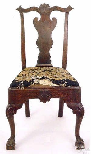Philadelphia transitional Queen Anne mahogany side chair ca1760
