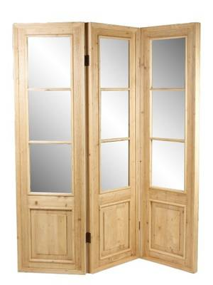 Rustic Pine Three Panel Mirrored Screen